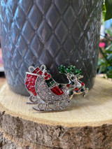 Silver Plated Crystal Encrusted Christmas Sleigh Brooch