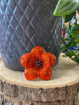 Gold Plated Red Enamelled Crystal Encrusted Poppy
