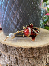 Gold Plated Red Enamelled Crystal Encrusted Rose