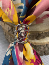 Flower Cut Out Scarf Ring - Silver
