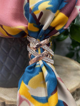 Diamante Criss Cross Scarf Ring - Rose Gold