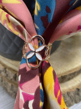 Painted Enamel Flower Scarf Ring - Rose Gold