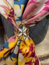 Painted Enamel Flower Scarf Ring - Gold