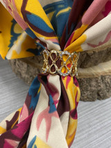 Diamante Encrusted Infinity Loop Scarf Ring - Gold