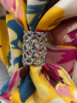 Mini Criss Cross Cut Out Scarf Ring - Silver