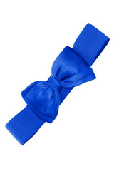 50s Vintage Inspired Elasticated Waspie Satin Bow Belt - Royal Blue
