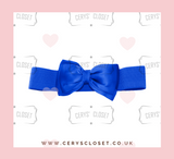 Royal Blue 50s Vintage Inspired Elasticated Waspie Satin Bow Belt Banned Apparel at Cerys' Closet