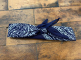 100% Cotton Navy Paisley Bandana Hair Scarf