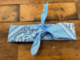 100% Cotton Baby Blue Paisley Bandana Hair Scarf