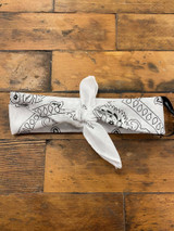 100% Cotton White Paisley Bandana Hair Scarf