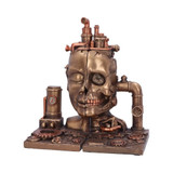 Bronze Effect Steam Punk Split Face Bookends with Gauges, Pipes and Gears
