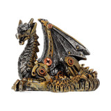 Silver and Bronze Effect Mechanical Dragon Hatchling 11cm