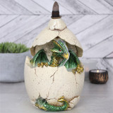 Backflow Incense Burner Dragon Egg with Green Dragon and Colour Changing LED