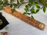Mango Wood Incense Holder with Brass Inlaid Stars and Peace Sign