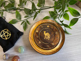 Round Mango Wood Incense Holder with Inlaid Stars and Camel