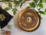 Round Mango Wood Incense Holder / Plate with Brass with Inlaid Stars and Yin & Yang