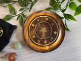 Round Mango Wood Incense Holder with Inlaid Stars and Large Centre Star