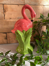 Ceramic Pink Flamingo Standing in Grass Money Box