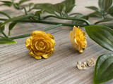 Handmade By Sue Resin Rose Earrings with Stainless Steel Post Studs - Gold