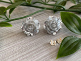 Handmade By Sue Resin Rose Earrings with Stainless Steel Post Studs - Silver