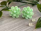 Handmade By Sue Resin Flower Earrings with Stainless Steel Post Studs - Mint Green