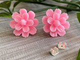 Handmade By Sue Resin Flower Earrings with Stainless Steel Post Studs - Baby Pink