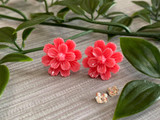 Handmade By Sue Resin Flower Earrings with Stainless Steel Post Studs - Hot Pink