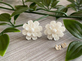 Handmade By Sue Resin Flower Earrings with Stainless Steel Post Studs - White