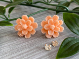 Handmade By Sue Resin Flower Earrings with Stainless Steel Post Studs - Peach