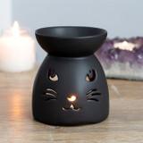 Matt Black Cat Cut Out Ceramic Oil Burner