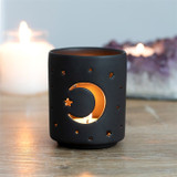 SMALL BLACK MOON AND STAR CUT OUT TEALIGHT HOLDER
