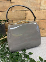 40S AND 50S CLASSIC PINUP ROCKABILLY VINTAGE INSPIRED SHINY PATENT BOX STYLE HANDBAG Grey - MIDGE