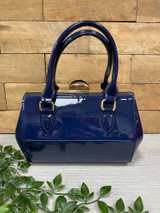 40S AND 50S CLASSIC PINUP ROCKABILLY VINTAGE INSPIRED SHINY PATENT Classic STYLE HANDBAG - Navy