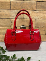 40S AND 50S CLASSIC PINUP ROCKABILLY VINTAGE INSPIRED SHINY PATENT Classic STYLE HANDBAG - Red