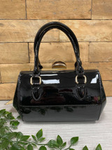 40S AND 50S CLASSIC PINUP ROCKABILLY VINTAGE INSPIRED SHINY PATENT Classic STYLE HANDBAG - Black