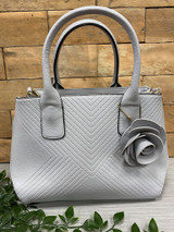 Grey Chevron Stitched Tote Bag with Rose Embellishment