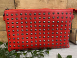 Studded Clutch Bag with detachable Shoulder Strap - Red