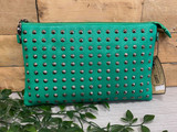 Studded Clutch Bag with detachable Shoulder Strap - Green