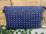 Studded Clutch Bag with detachable Shoulder Strap - Blue