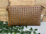 Studded Clutch Bag with detachable Shoulder Strap - Brown
