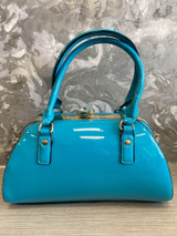 40S AND 50S CLASSIC PINUP ROCKABILLY VINTAGE INSPIRED SHINY PATENT STYLE HANDBAG - Blue