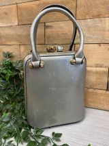 40s and 50s Vintage Inspired Rockabilly Pinup Reproduction Patent Box Handbag in Silver - Jackie