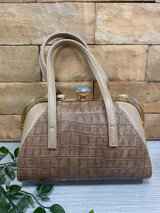 40S AND 50S CLASSIC PINUP ROCKABILLY VINTAGE INSPIRED FAUX CROC HANDBAG - Caramel