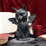 Large Malpuss Winged Black Cat Figurine