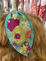 Hand Finished Embroidered Teal Floral Hairband by Powder