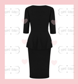 Betty Bang Bang Peplum top and Pencil Skirt Combo by Cerys' Closet - Black Peplum Top Plus Size fashion Pencil Skirt Separates but when worn together they make an amazing dress, 3 looks in 1