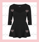 Black sweetheart neckline Peplum Top Plus Size fashion, handmade in the UK, stretchy and comfortable