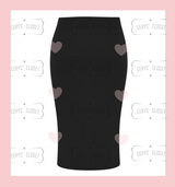 Black Pencil Skirt in a stretch material, made in the UK