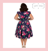 Hearts and Roses London Dark Purple and Pink Floral 50s Vintage Inspired Style Faux Shirt Tea Dress - Midnight at Cerys' Closet