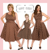 Hearts and roses London children's dresses 50S VINTAGE INSPIRED BROWN AND WHITE POLKA DOT PRETTY WOMAN AUDREY NECKLINE SLEEVELESS SWING DRESS Kids